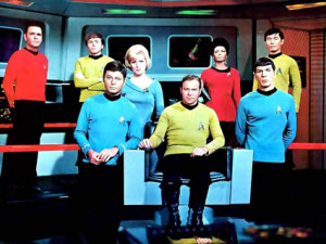 James Doohan, Walter Koenig, DeForest Kelley, Majel Barrett, William Shatner, Nichelle Nichols, Leonard Nimoy, and George Takei.